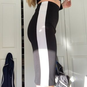 Black with white strip long skirt